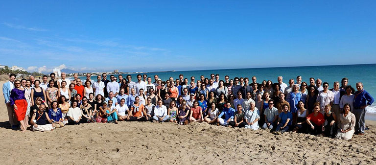 130 people at the International Young Meditators' Course in Spain
